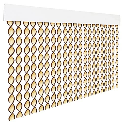 HOME MERCURY – Cortina espiral para puerta exterior o interior, material PVC – libre de insectos (200x90CM, Beig+Filo Marron R1)