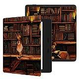 """電子書籍リーダースマートケース, 磁気塗装カバーケース、7"""" Kindleのオアシス2019分の2017 eリーダーのためのフィットは、Kindleのオアシス2 3、オートスリープのために/繊細なカバーをウェイク (Color : Library girl)"""
