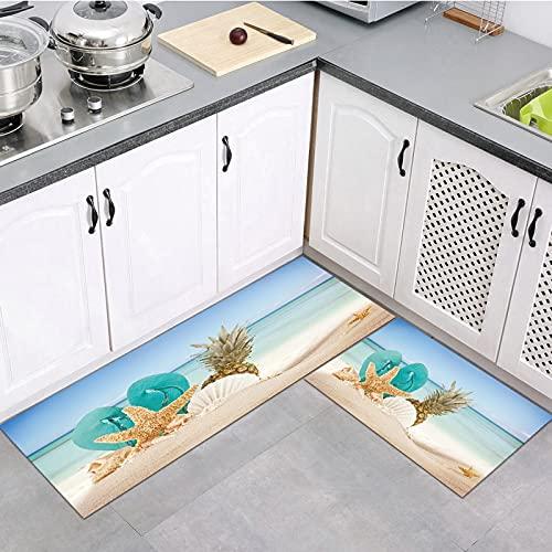 OPLJ Alfombra de Cocina Lavable de la Serie Sea Beach, Alfombra para Puerta de Entrada para el hogar, Alfombra para Sala de Estar, Alfombrilla Antideslizante A9 40x120cm