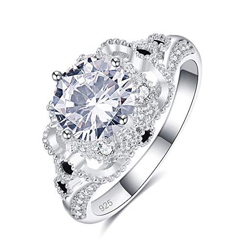 Momius 925 Silver Plated Created White Topaz Round Cut Celtic CZ Pave Cocktail Party Band Ring Promise Eternity Ring for Women Size 8