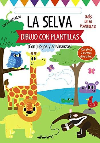 Dibujo con plantillas. La selva (Castellano - A PARTIR DE 3 AÑOS - MANIPULATIVOS (LIBROS PARA TOCAR, JUGAR Y PINTAR), POP-UPS - Otros libros)