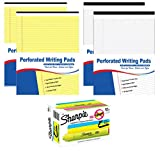 Sharpie Fluorescent Yellow Highlighters, Chisel Tip, 12 Ct.   8 ½'x 11 ¾' Perforated Legal Writing Pad, 2 White + 2 Yellow Pads