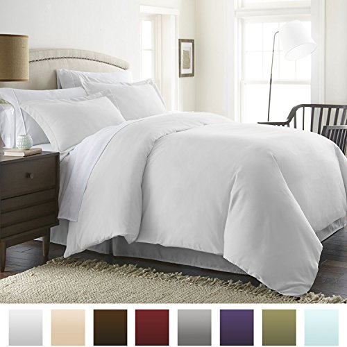 ienjoy Home Beckham Luxury Soft Brushed 1800 Series Microfiber Duvet Cover Set - Hypoallergenic, King, White