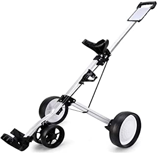 Charm&Cstay Golf Push Cart, 4-Wheel Foldable Golf Pull Cart with Score Board