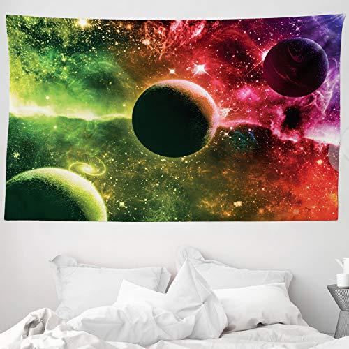 ABAKUHAUS Psychedelisch Wandteppich & Tagesdecke Cosmos Galaxy Nebulaaus Weiches Mikrofaser Stoff 230 x 140 cm Farben verblassen Nicht Magenta Green