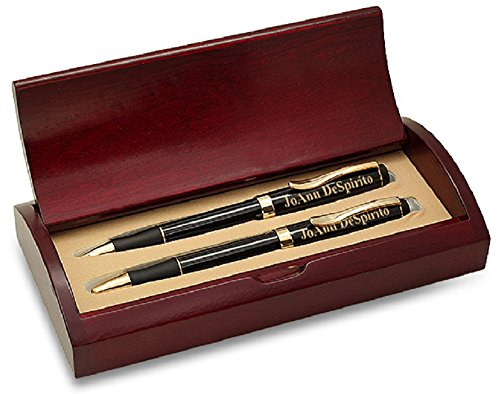 Personalized Ballpoint Pen and Mechanical Pencil Set, Custom Engraved Pen and Pencil Set wtih Customized Wooden Box