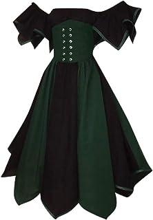 レディース 中世風衣装 Florrita 女性 ヨーロッパ系 復古ドレス ワンピース ウエスト 大人用コスチューム ロング ドレス 半袖 お女王様 王女様 ドレス 貴族風 ステージドレス パーティー プリンセス 演奏会 舞台衣装 洋装ワンピース