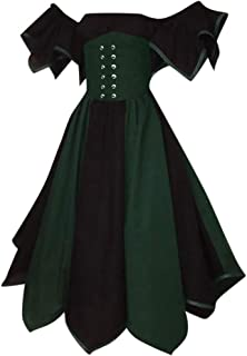 Women Plus Size Costume Gothic Medieval Dress Vintage Retro Gown Slash-Neck Long Dress Halloween