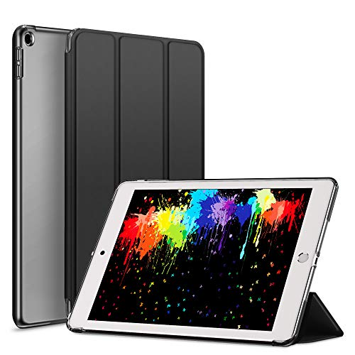 ZOYU for iPad 2017 2018 case,Ultra Slim Lightweight Smart Case Stand Auto Sleep/Wake Translucent Frosted Hard shell Back Protector cover for iPad 9.7 inch iPad 5th/6th Generation case-Hard shell Balck
