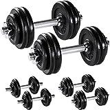 TecTake Set Mancuernas con Pesas Halteras Fitness Acero Hierro Musculación Gimnasio - Varios Modelos - (2X 15kg | No. 402369)