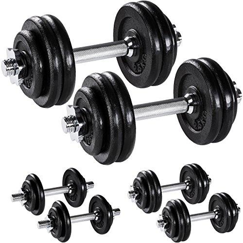 manubri palestra no pesi TecTake Manubri Pesi Corti ghisa Palestra Set Peso Fitness bilanciere Bicipite Kit - Modelli Differenti - (2X 15kg | No. 402369)