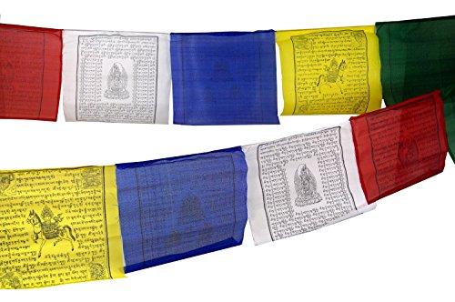 Guru-Shop Tibetische Gebetsfahne in Verschiedenen Längen - 25 Wimpel/ Viskose, Länge: 10 m Lang (Wimpel 35x35 Cm), Gebetsfahnen