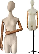 Male Mannequin Torso Body Head Busts with Adjustable Tripod Stand Dress Form Manikin Model Dummy Display Beige Color : Have an arm
