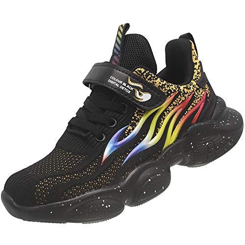 KRONJ Zapatillas Deportivos Niños Niñas Zapatos para Correr Transpirables Antideslizante, Negro-34