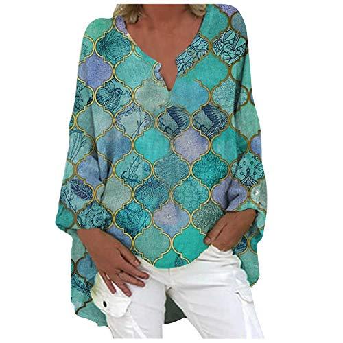 Sweatshirt Oberteil Damen Langarm Lose Bluse Hemd Shirt Oversize Tops Hemd Bluse Frauen Plus Size Mode Lässig Langarm Print Loose V-Ausschnitt Top (L,5grün)