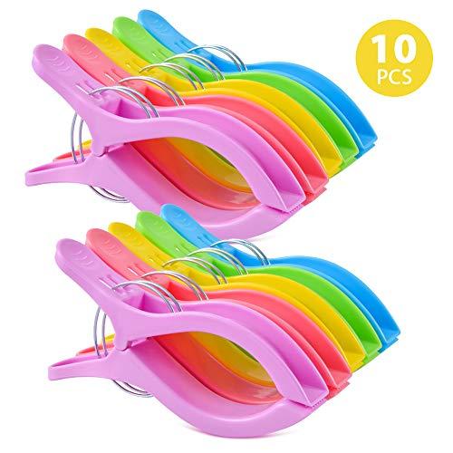ipow 10 PCS Jumbo Größe Strandtuch Klammer Clips, Wäscheklammern Hochwertige Kunststoff Clips Qulit Handtuch Klammer für Strand Pool tägliche Wäsche, schwere Badetuch etc.schwere Badetuch etc.