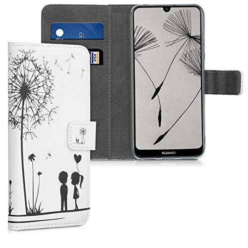 kwmobile Wallet Hülle kompatibel mit Huawei Y6 (2019) - Hülle mit Ständer Kartenfächer Pusteblume Love Schwarz Weiß