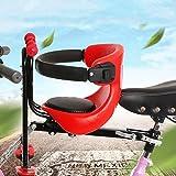 OLDSAN Asiento de Bicicleta para niños Asiento Delantero de Bicicleta extraíble con manija de Pedal y barandilla, Asiento de Bicicleta para niños para Bicicleta de Carreras MTB Red