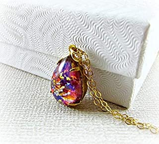 Red Simulated Opal Necklace- Pear Teardrop Pendant- 14K Gold Filled or Sterling Silver- Handmade Jewelry for Women