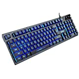 KAYINUO Gmaing Keyboard - USB Wired Ergonomic Keyboard with 3 Color LED Backlit 104 Keys Mechanical Feeling Ultra-Slim Office Keyboard Non-Slip for Primer Gaming, Working, Office