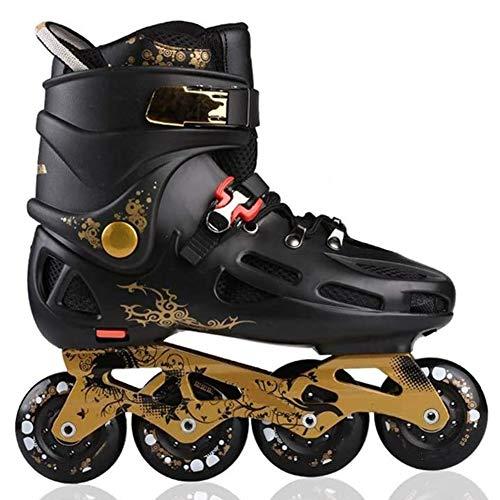 Wwwly Adult Outdoor Fitness Inline Skates for Beginner Boys Girls Speed Roller Skates,Black,40EU