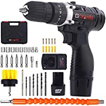 Cordless Drill with 2 Batteries - GOXAWEE Electric Screw Driver Set 100pcs with Hammer Function (30Nm, 18+3 Torque Setting, 2-Speed) for Home & DIY Project Drilling Walls, Bricks, Wood, Metal.