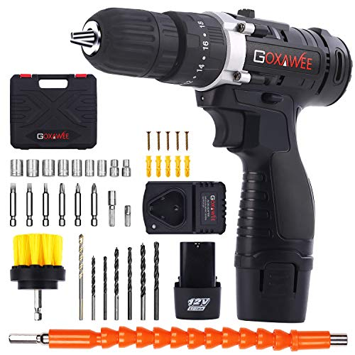 Cordless Drill with 2 Batteries - GOXAWEE Electric Screw Driver Set 100pcs...