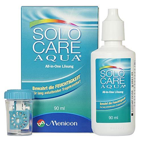 Demel Augenoptik Solocare Aqua Reise-Set – Kontaktlinsenflüssigkeit für Weiche Kontaktlinsen, 90ml