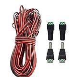 LITAELEK 20m 2 Pines Cable DC 12V 5V 9V 24V 36V Cable de Extensión de Tira de LED 22 AWG Cables Rojo y Negro con Conectores Hembra y Macho DC 5,5 mm x 2,1 mm para LED Strip, Coche Cable,etc.
