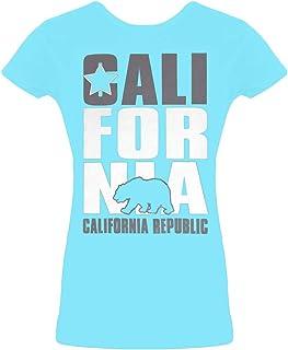Womens Short-Sleeve California Republic T-Shirt - Turquoise - Medium