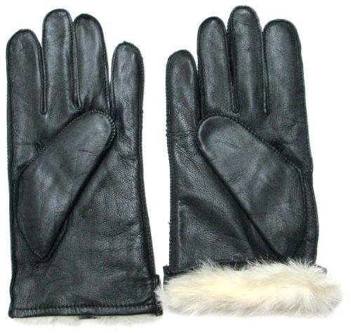 FOWNES hommes fourrure de lapin doublé gants en cuir napa noir