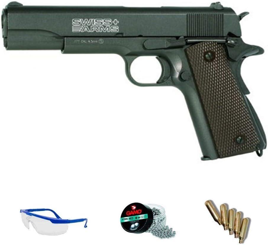 Swiss Arms P1911 blowback | Pack Pistola de Aire comprimido (CO2) Y balines de Acero (perdigones o Bolas BB's) Cal. 4.5mm. Réplica Tipo Colt <3,5 Julios