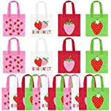 UTOPP 20Pcs Strawberry Party Favor Bag for Strawberry Party Decorations,Strawberry Non-Woven Candy Gift Bags,Strawberry Goody Treat Bags for Strawberry Theme Party,Berry First Birthday,Summer Fruit Party,Baby Shower