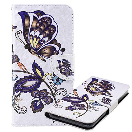 Laybomo Hülle für Apple iPhone 7 8 Ledertasche Schuzhülle Weiches TPU Silikon Cover Magnetisch Stehen Brieftasche Handyhülle für iPhone 7 8 mit Visitenkartenhüllen, Schmetterling Gedrückt