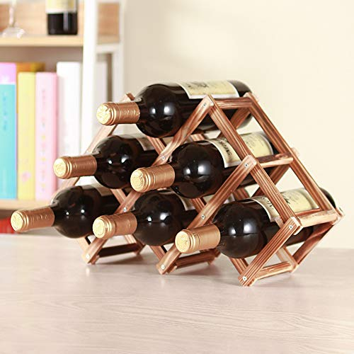 TENZEP 6 Bottle Wine Rack Tabletop Wine Rack Real Wood Storage Folding Wine Bottle Storage Rack Wall Home Decor Creativity Roast6 Bottles of Suit