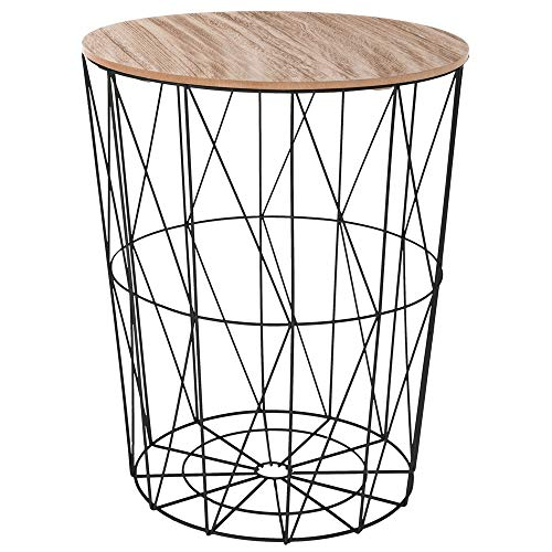 Atmosphera Korbtisch Beistelltisch Metall Korb mit Holz Deckel 47 x 47 x 57 cm