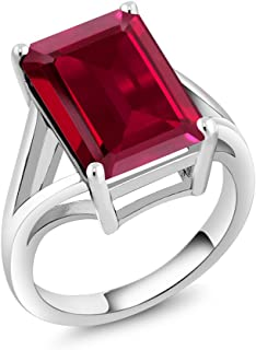 Gem Stone King 925 Sterling Silver Created Ruby Women Solitaire Ring (8.00 Ct Emerald Cut, Available 5,6,7,8,9)