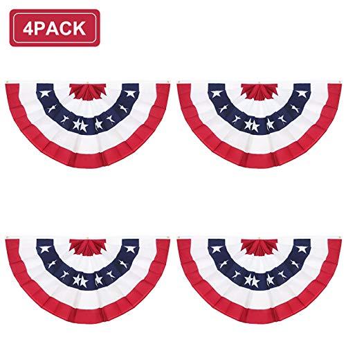 Rtudan American Pleated Fan Flag,3 X1.5 Ft USA Patriotic Flag Bunting Half Fan Banner Decoration Indoor/Outdoor(Set of 4)