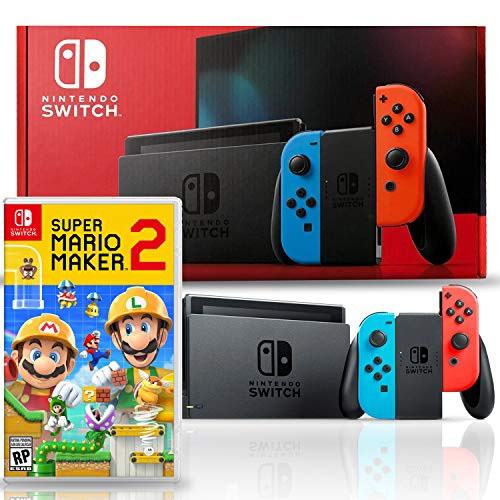 Nintendo Switch with Neon Blue and Red Joy-Con Bundle with Super Mario Maker 2