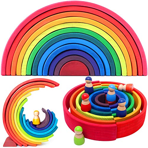 VIGEIYA 18Pcs Wooden Rainbow Stacking Toy Color Sorting Toys Large Stacker Building Blocks for Kids Toddlers (Large)