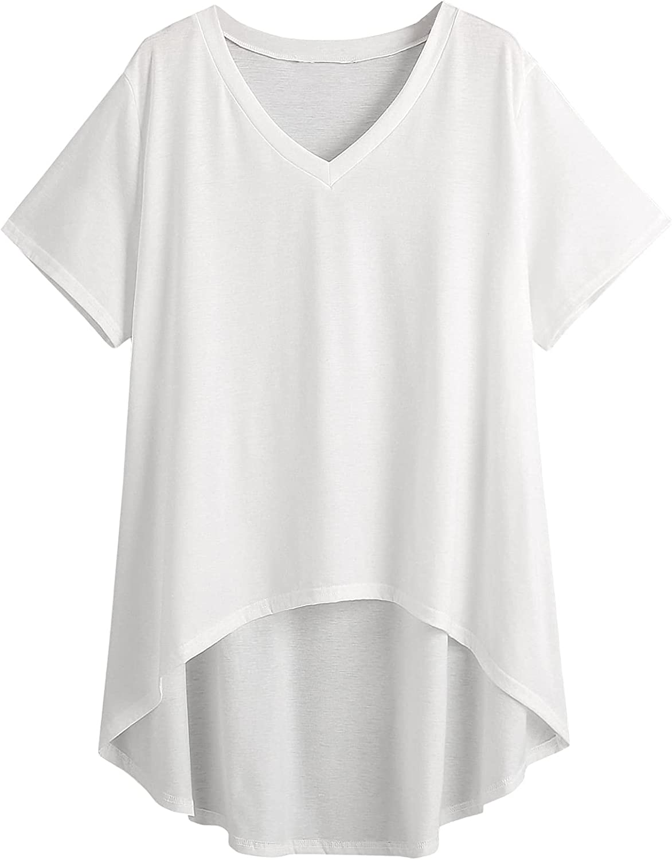 Milumia Women's Plus Casual Summer Tee V-Neck Basic T-Shirts Short Sleeve Tunic Ladies Tshirts