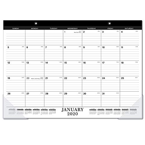 "2020-2021 Desk Calendar - 18 Months Desk/Wall Calendar 2020-2021 with Transparent Protector, Standard, 17"" x 12"", January 2020 - June 2021, Perfect for Daily Schedule Planner, Ruled Blocks"
