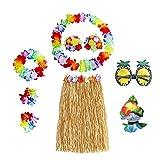 8 Piezas Fiesta Hawaiana Disfraces, Falda De Hula, Cadena De Flores, Pulseras De Flores, Sujetador De Flores, Flor De Pelo, Gafas De Sol De PiñA, para La DecoracióN De La Fiesta De Playa