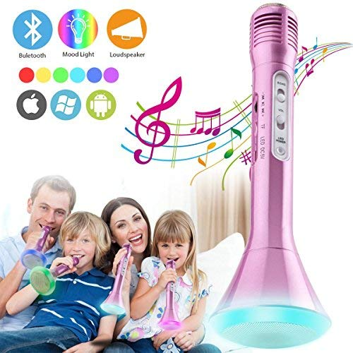 Microfono karaoke Wireless Bluetooth Bambini, Portatile karaoke Mic Bluetooth Microfono Senza fili Microphone Player con Altoparlante per Cantare Ragazzi Ragazze Kids Phone Andriod iOS PC (Rosa)
