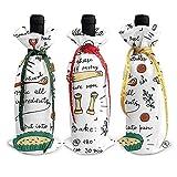 Christmas Wine Bottle Cover,Receta Colorida De Quiche De Verduras (2) 3 Piezas De Tapa De Botella De Vino De Navidad Cubiertas De Botella De Vino Para Fiestas Temáticas De Cosplay 12x34cm
