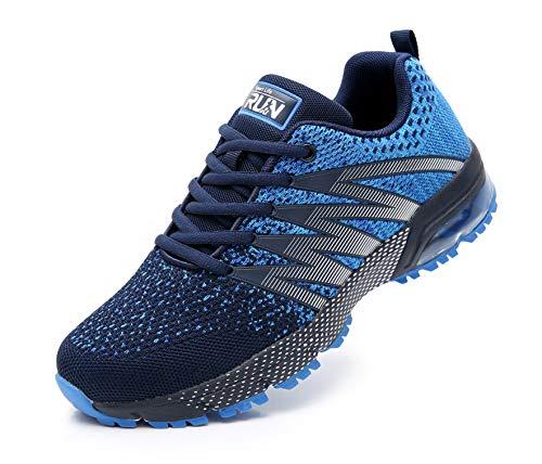 Azooken Herren Damen Sportschuhe Laufschuhe Turnschuhe Sneakers Leichte Fitness Mesh Air Sneaker Straßenlaufschuhe Outdoor(8995 Blue47)
