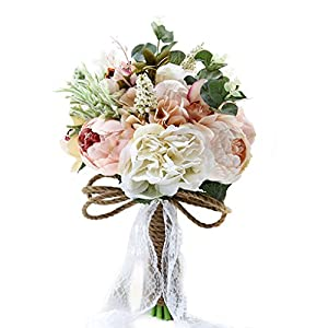 Bridal Hold Wedding Bouquet Rose Peony Dahlia Artificial Flowers Wedding Party Home Decor