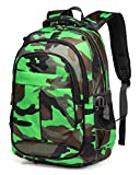 BLUEFAIRY Soccer Backpacks for Boys with Ball Holder Basketball Compartment Kids Sport Elementary School Bags(Camo Green)