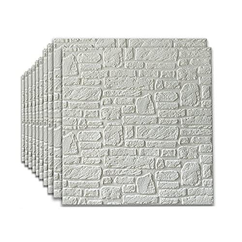 3d De Piedra De La Pared De La Pared Pegatinas De Azulejos 70 * 70 Cm Conjunto De 10 Pegatinas De Pared De Ladrillo De Imitación Blanca Diy Diy Impermeable Papel Tapiz Decorativo D(Size:5mm,Color:1)
