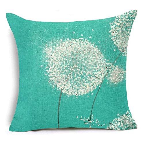 Promini Kissenbezug, Pusteblume im Wind, Blumenmuster, Grün/Blau/Türkis/Weiß, quadratisch, Leinen, 40 x 40 cm